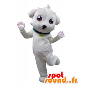 Hvit hund maskot med en grønn krage - MASFR031683 - Dog Maskoter