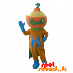 Mascotte de mandarine, en tenue de super-héros