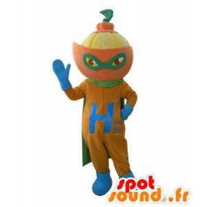 Mandarin mascotte in superheld kledij