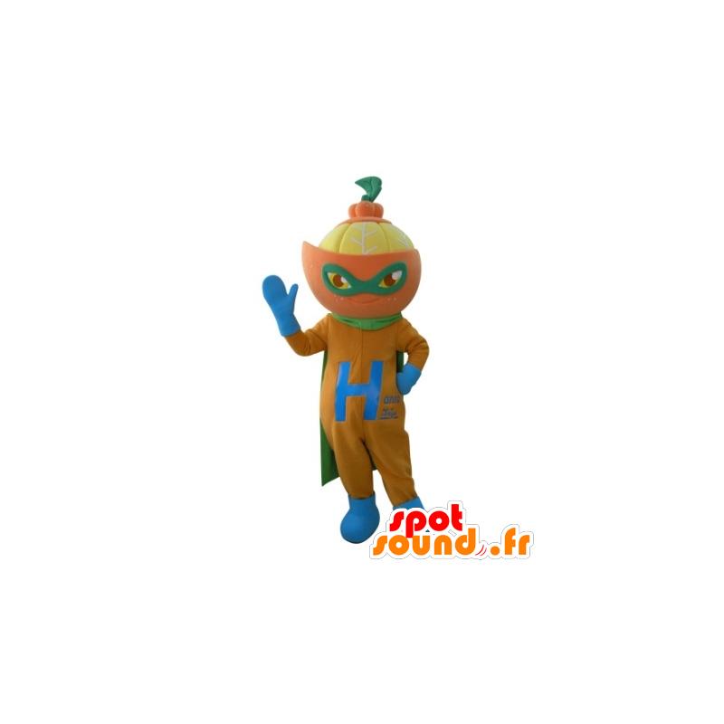 Mascota de la mandarina en el traje del superhéroe - MASFR031693 - Mascota de superhéroe