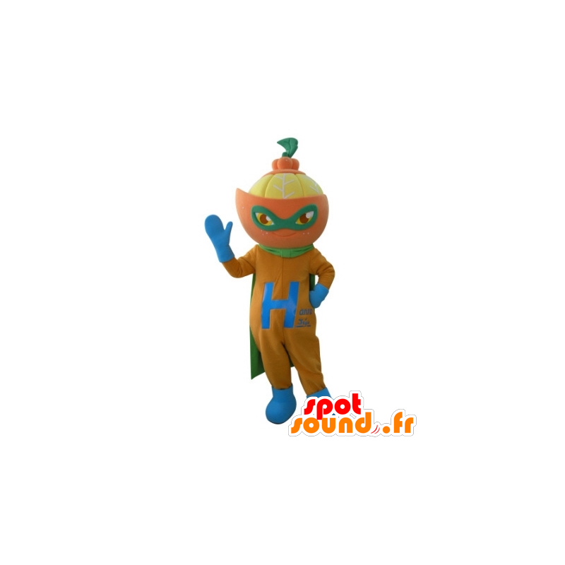 Mandarin maskot i superhelt antrekk - MASFR031693 - superhelt maskot