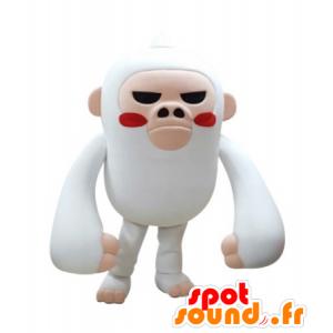 Valkoinen ja vaaleanpunainen apina maskotti näyttää kovaa - MASFR031698 - monkey Maskotteja
