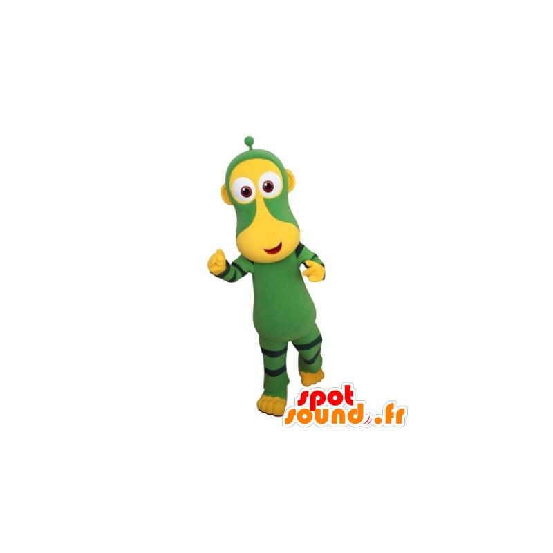 Mascotte scimmia verde e giallo. futuristico mascotte animale - MASFR031702 - Scimmia mascotte