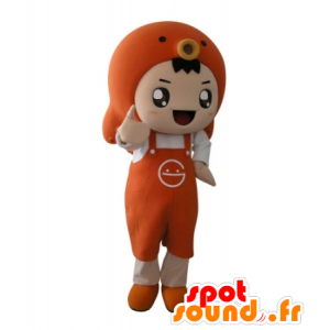 Orange boy mascot with an apron and a fish - MASFR031707 - Mascots boys and girls