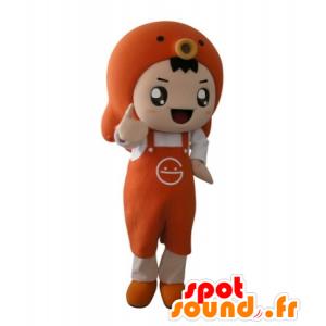Oranssi poika maskotti esiliina ja kala - MASFR031707 - Maskotteja Boys and Girls