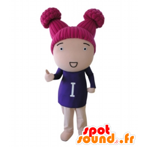 Doll mascot girl with pink hair - MASFR031710 - Mascots boys and girls
