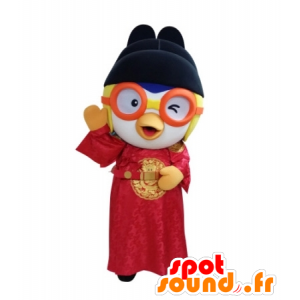 Asian bird mascot holding with glasses - MASFR031711 - Mascot of birds