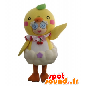 Mascot girl disguised in giant chick - MASFR031719 - Mascots boys and girls