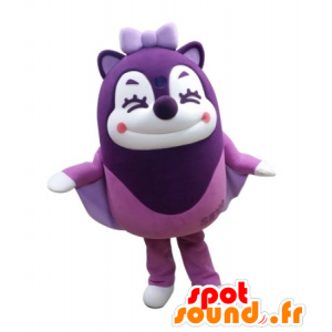 Purple mascot flying squirrel in the air laughing - MASFR031723 - Mascots squirrel