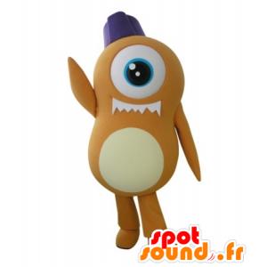 Mascot alien oranje cyclops - MASFR031726 - uitgestorven dieren Mascottes