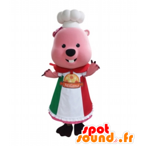Pink beaver mascot dressed in uniform Chef - MASFR031728 - Beaver mascots