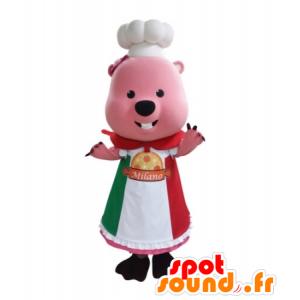 Rosa Biber-Maskottchen in Uniform Koch gekleidet - MASFR031728 - Biber Maskottchen