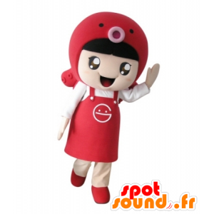 Girl mascot with an apron and a fish - MASFR031732 - Mascots boys and girls
