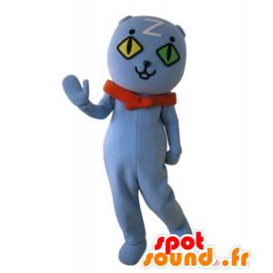 Cat mascot wall-eyed. blue teddy mascot - MASFR031733 - Bear mascot