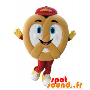 Mascotte de Bretzel géant, très souriant - MASFR031736 - Mascotte alimentaires