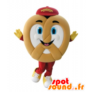 Pretzel giant mascot, cheerful - MASFR031736 - Food mascot