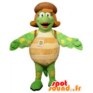 Maskottchen grüne Schildkröte, beige und gelb, und weibliche Riese - MASFR031745 - Maskottchen-Schildkröte