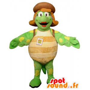 Mascot zielony żółwia beżowym i żółtego i kobiet olbrzymia - MASFR031745 - Turtle Maskotki