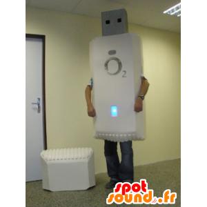 White USB mascot, giant - MASFR031749 - Mascots of objects