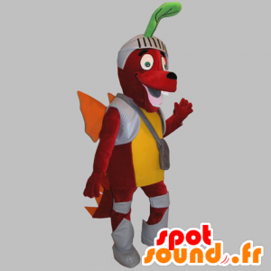 Red Dog mascot, dragon, dressed in knight - MASFR031751 - Mascots horse