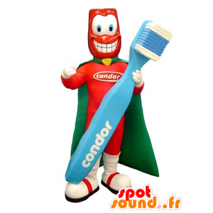 Superhero mascot with a giant toothbrush