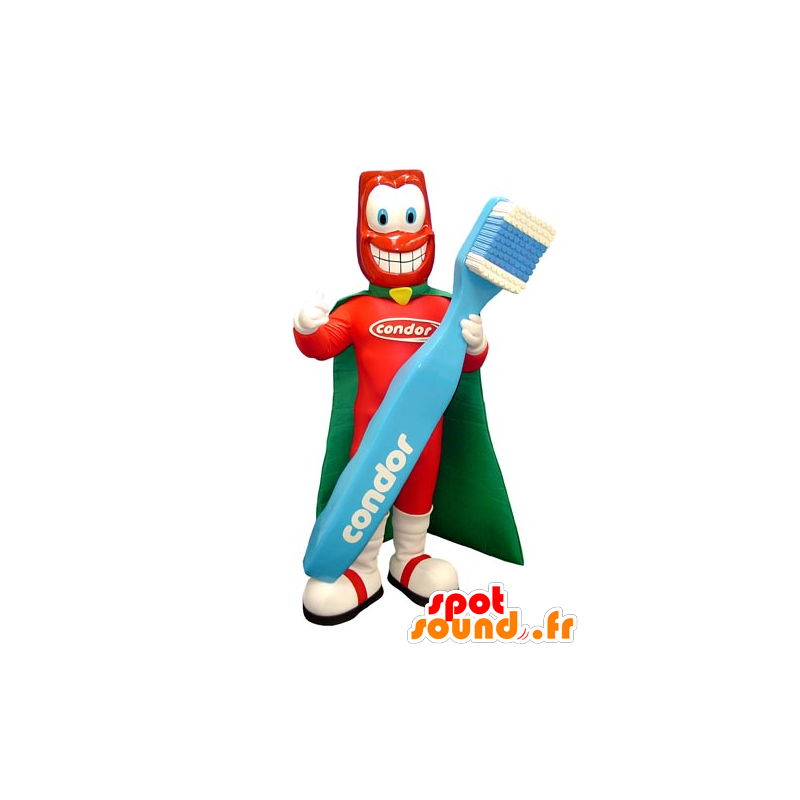 Superhero mascot with a giant toothbrush - MASFR031755 - Superhero mascot