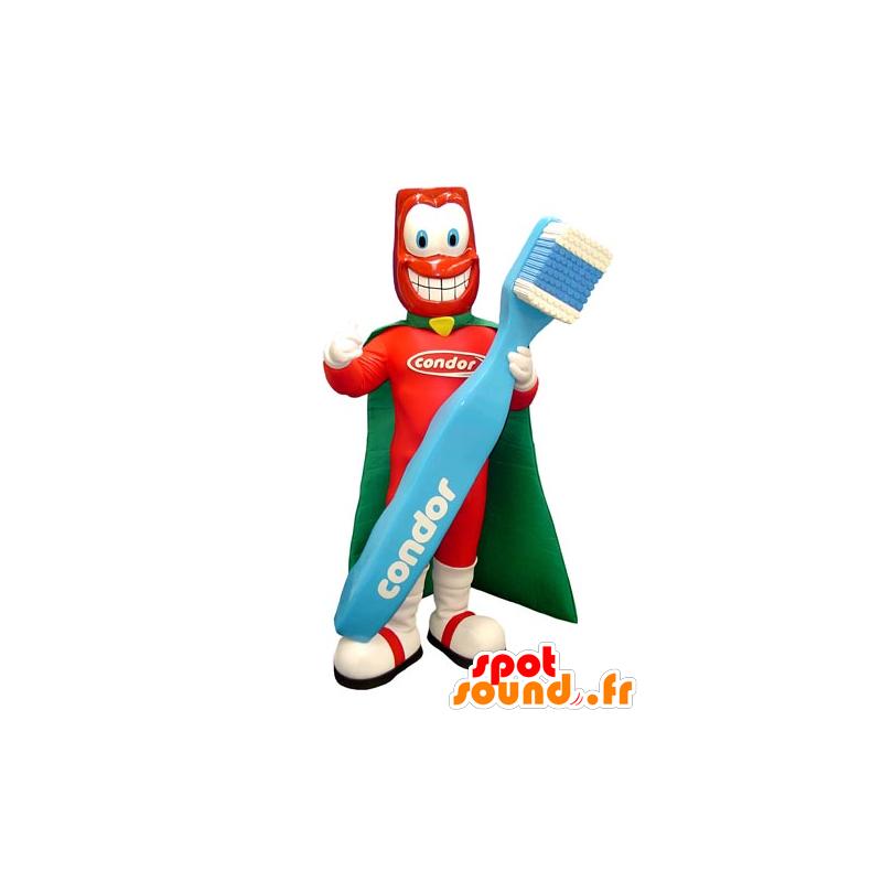 Mascote super-herói com uma escova de dentes gigante - MASFR031755 - super-herói mascote