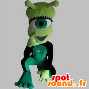 Mascotte d'extra-terrestre cyclope, vert, très rigolo - MASFR031756 - Mascottes animaux disparus
