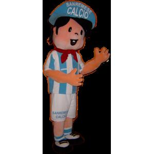 Mascotte sportiva del ragazzo del giocatore di calcio in bianco e blu - MASFR031759 - Mascotte sport
