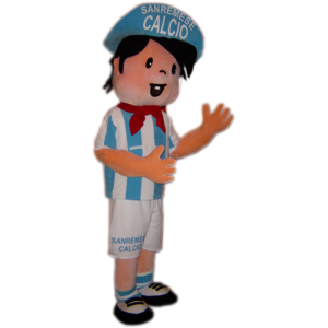 Mascotte sportieve jongen voetballer in blauw en wit - MASFR031759 - sporten mascotte