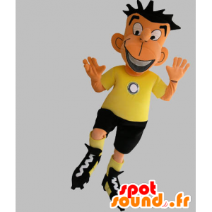 La mascota de fútbol en traje negro y amarillo - MASFR031760 - Mascota de deportes