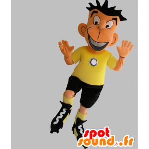 Jalkapallo maskotti musta ja keltainen asu - MASFR031760 - urheilu maskotti