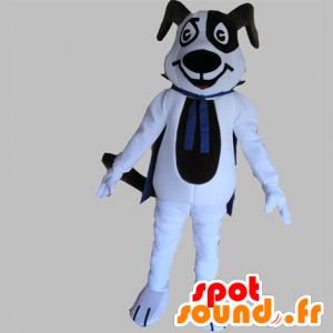 Musta ja valkoinen koira maskotti sininen viitta - MASFR031763 - koira Maskotteja