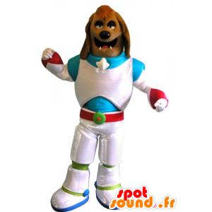 Bruine hond mascotte verkleed als een ruimtevaarder - MASFR031772 - Dog Mascottes
