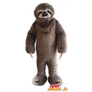 Pigro marrone mascotte e nero, peloso - MASFR031776 - Mascotte pigri