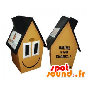 Gele huis mascotte, bruin en zwart, zeer glimlachende