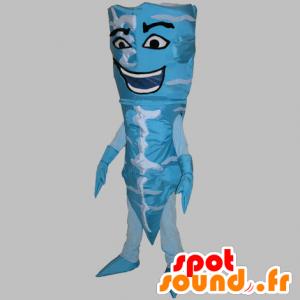 Blau und weiß Eistüte Maskottchen. konische Bonhomme - MASFR031779 - Menschliche Maskottchen