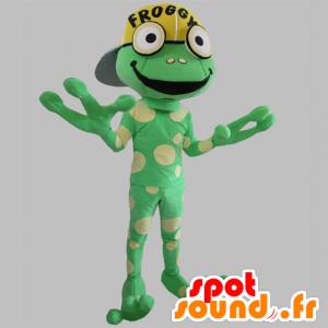 Mascot grüner Frosch, Riese, gelbe Erbsen - MASFR031781 - Maskottchen-Frosch