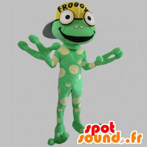 Mascot green frog, giant, yellow peas - MASFR031781 - Mascots frog