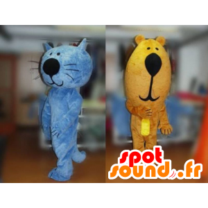2 mascots, a blue cat and a brown bear - MASFR031782 - Bear mascot