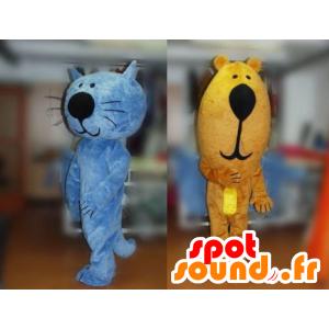2 maskotteja, sininen kissa ja karhun - MASFR031782 - Bear Mascot