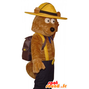 Of brown bear mascot Explorer held - MASFR031783 - Bear mascot