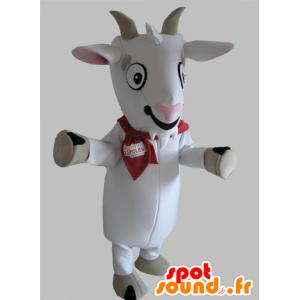 Mascotte di capra, bianco e grigio biquette - MASFR031788 - Capre e capra mascotte