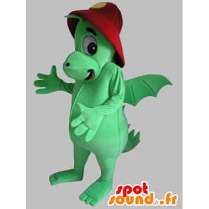Green dragon mascot with a red helmet - MASFR031789 - Dragon mascot