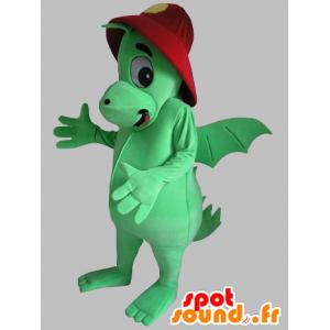 Grøn drage maskot med rød hjelm - Spotsound maskot kostume