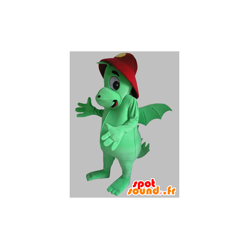 Green dragon mascot with a red helmet - MASFR031789 - Dragon mascot