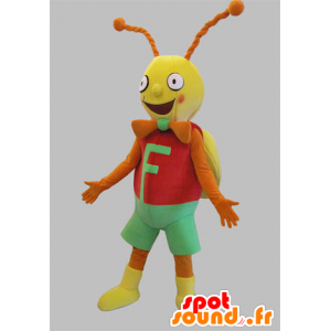 Cricket mascot, red butterfly, yellow and orange and green