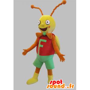 Cricket mascotte, rode vlinder, geel en oranje en groen
