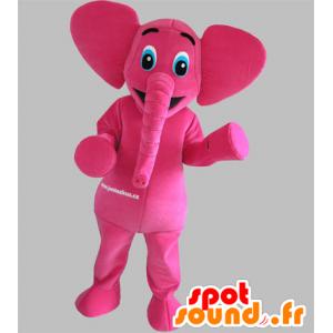 Mascot pink elephant with blue eyes - MASFR031792 - Elephant mascots