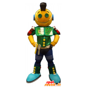 Mascot yellow green and blue robot, fun - MASFR031794 - Mascots unclassified